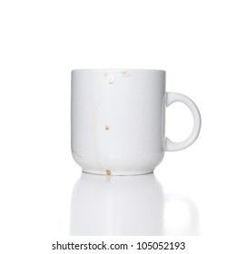 dirty white cup on white background