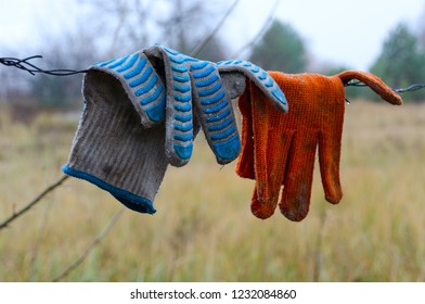 Dirty work gloves hanging on barbed wire in Chernobyl NPP Exclusion Zone, Ukraine