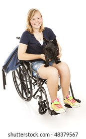 Disabed teen girl with her backpack and her Scotty dog.  Full body isolated on white.