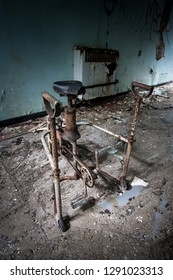 Disability aid at an abandoned and derelict lunatic asylum/hospital (now demolished), Cane Hill, Coulsdon, Surrey, England, UK