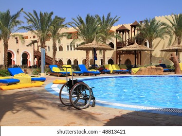 Disability chair at awimming pool
