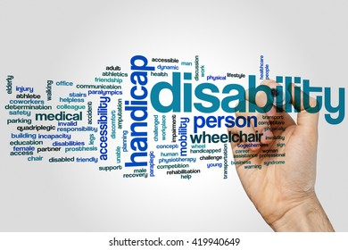 Disability concept word cloud background