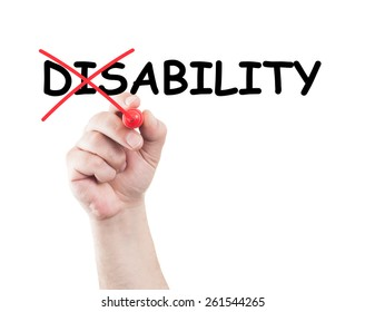 Disability concept written by hand using a marker on transparent wipe board with white background and copy space