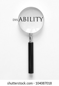 disability and magnifying glass