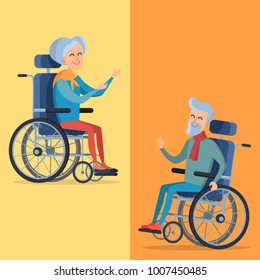 Disability pension two smiling gray-haired pensioners on wheelchairs.  illustration isolated on yellow and orange background.