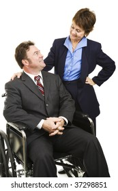 Disabled businessman in wheelchair and his female partner.  Isolated on white.