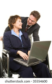 Disabled businesswoman with laptop and her boss having a conversation.  Isolated on white.