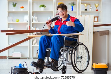 Disabled carpenter working with tools in workshop