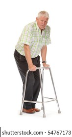 Disabled casual mature man on white background, using walking frame or Zimmer