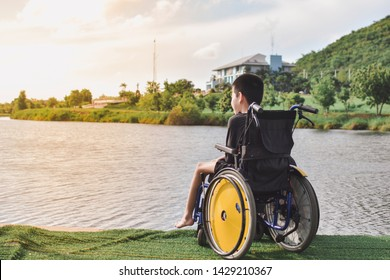 Disabled child on wheelchair is play and learn in the outdoor park like other people, Special children's lifestyle, Life in the education age of special need children, Happy disability kid concept.