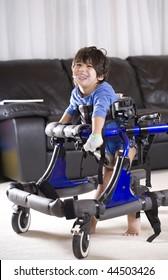 Disabled child in walker