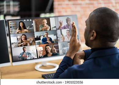 Disabled Deaf Man In Video Conference Call
