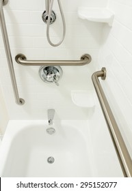 Disabled handicapped shower bathtub with grab bars