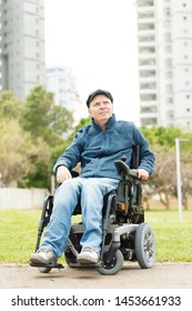 Disabled man in the city. Freedom