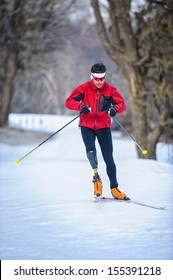 disabled man practicing nordic skiing