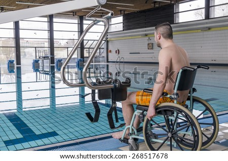 Disabled Man Swimming Pool Wheelchair Disabled Stock Photo (Edit Now ...