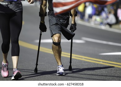 A Disabled Marathon Runner is running.