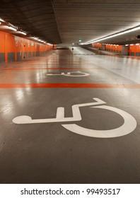 Disabled parking sign in a parking garage