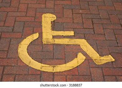 Disabled Parking Sign on block paving