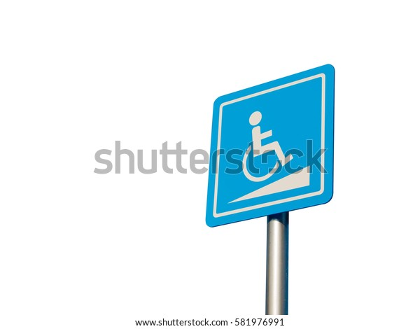 Disabled parking space and wheelchair way sign and symbols on a pole warning motorists isolate on white background