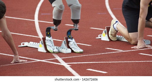 disabled person with prosthesis an bodied person melting in sport