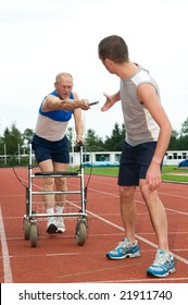 Disabled person reaching for an other athlete to pass him the baton. Caricature picture to illustrate helping, giving, disability, ability, getting older, not wanna quit.