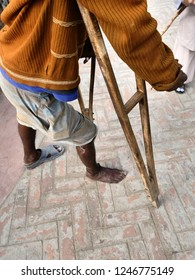Disabled poor man in India
