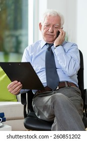 Disabled senior man talking on the phone