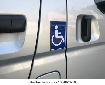 disabled sign on van