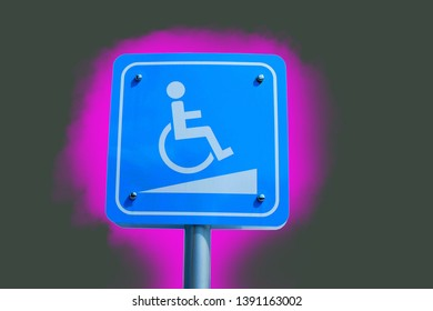 Disabled toilet sign Slope that separates from the background