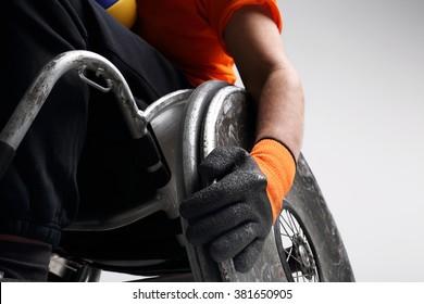 Disabled wheelchair. Wheelchair and medicine ball