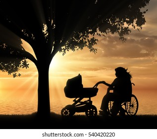 Disabled woman in wheelchair holding baby carriage under tree near sea on sunset. Concept disabled and family