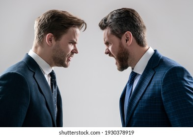 disagreed men partners. business competition. businessmeeting. struggle for leadership. displeased colleague dispute. negotiations. businessmen talking and discussing conflict. boss and employee.
