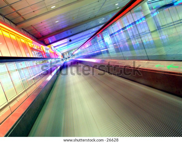 Disapearingwalkway with colourfull lights