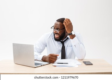 Disappointed African businessman is dazed and confused by a mistake in official documents. He feels total disagreement about the deal