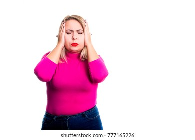 Disappointed blond woman plus size in red lipstick isolated on white background. Confusion, surprise, shock. Modern concept of business, decision making, success. self-confidence.