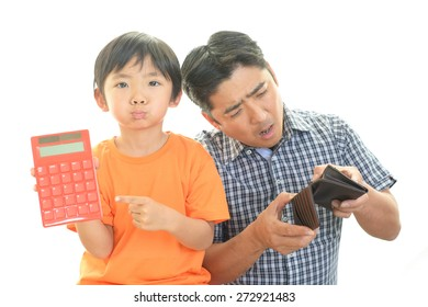 Disappointed father with child