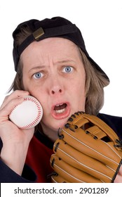 Disappointed female baseball fan with baseball,baseball,mitt, hat and t-shirt, over white