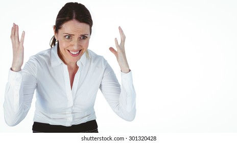 disappointed looking businesswoman against a white background
