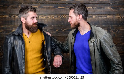 Disappointed partner argue. Showdown concept. Conflict and confrontation. Man argue while guy feel sorry. Fail and misunderstanding. Feel guilty. Failure and disappointment. Men failed deal argue.