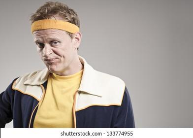 Disappointed Retro Gym Coach Smirking