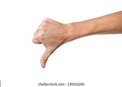 Disapproval - thumbs down hand sign isolated on white background