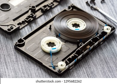 disassembled audio cassette closeup