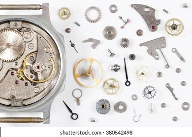 disassembled the clock on the background details