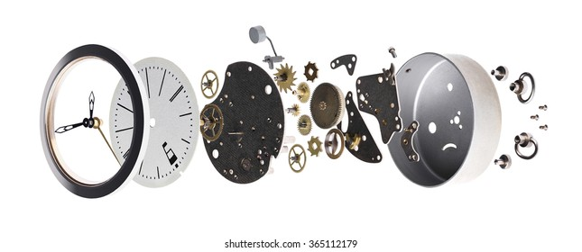 disassembled the clock on a white background