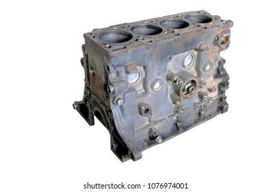 Disassembled diesel engine for repair. Cylinder block.