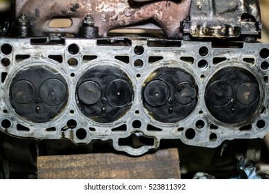 Disassembled Diesel Type Cars Engine Block Head in Service for Scheduler Maintenance Work And Repair. Done By Professional Employees