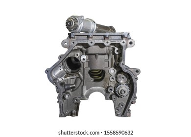 Disassembled engine, on a white isolated background.