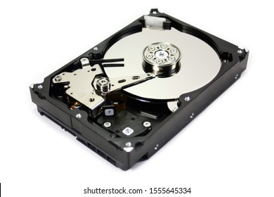 """Disassembled hard drive from the computer, hdd with mirror effect Opened hard drive from the computer hdd disk drive 2.5"""" SATA 2"""