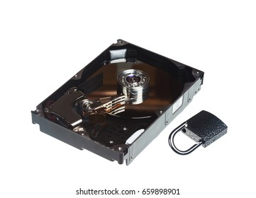 Disassembled hard drive and lock isolated on white background
